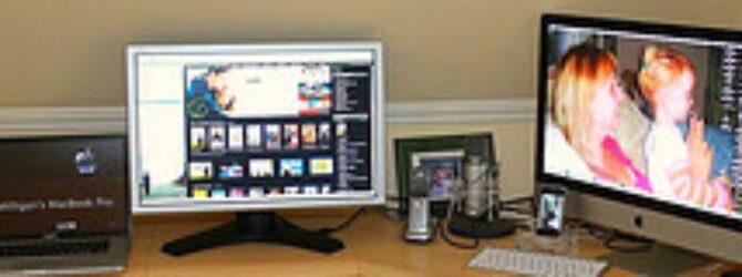 "Apple Mac Setup. Macbook Pro, Second Screen, iMac 27"", iPhone and Condenser Mic."
