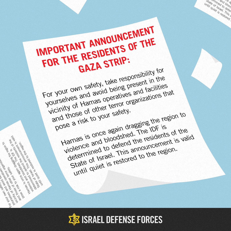 IDF dropped warning leaflets over Gaza