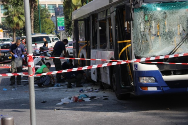A bomb exploded on this Tel Aviv bus on the afternoon of November 21, 2012.