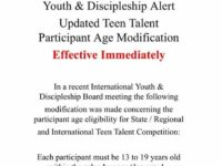 Teen Talent Participant Age Update