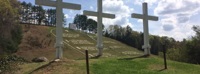 3 Crosses in the Fields of the Wood at Prayer Mountain in Murphy, NC