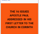ISSUE 1: DIVISIONS IN THE CHURCH As stated in my…