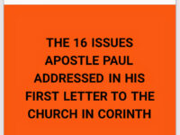 ISSUE 2: THE MINISTRY OF AN APOSTLE We continue today…