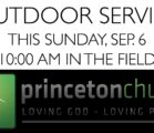 Outdoor Service THIS Sunday, September 6