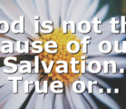 God is not the cause of our Salvation. True or…