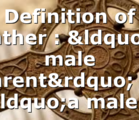 "Definition of Father : ""a male parent"" or ""a male…"