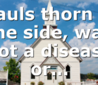 Pauls thorn in the side, was not a disease or…