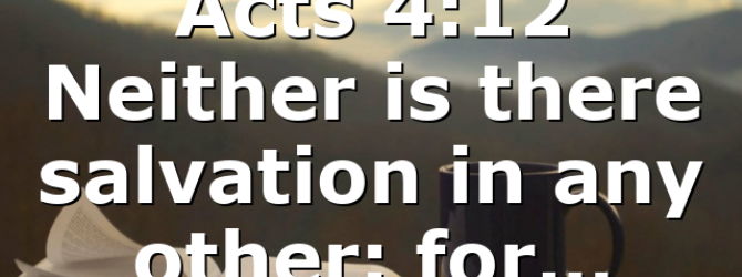 Acts 4:12 Neither is there salvation in any other: for…