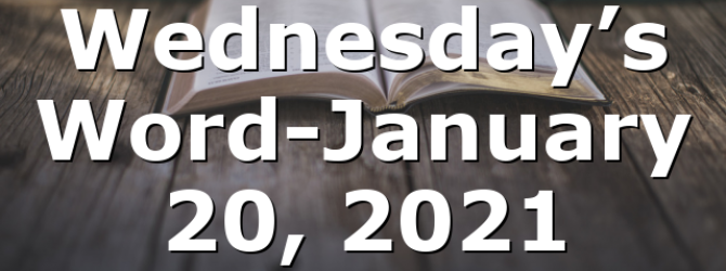 Wednesday's Word-January 20, 2021