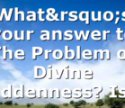 What's your answer to The Problem of Divine Hiddenness? Is…