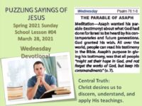 Sunday School Daily Bible Readings Sunday March 28th